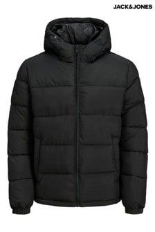 Jack & Jones Black Padded Jacket With Hood