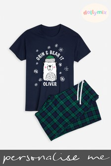 Personalised Mens Family Bear Navy Christmas PJ Set by Dollymix