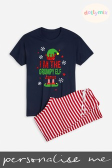 Personalised Mens Family Christmas Elf PJ Set by Dollymix