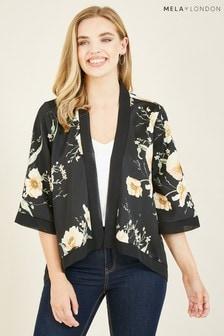 Mela Black Poppy Garden Printed 'Ema' Short Kimono