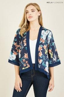 Mela Navy Printed Short 'Babette' Kimono