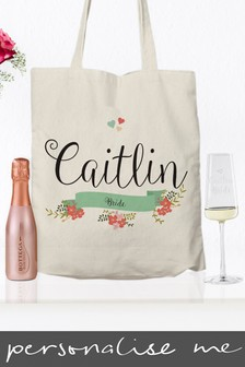 Personalised Floral Bridal Party Bag, Flute And Hanger Set by Signature Gifts
