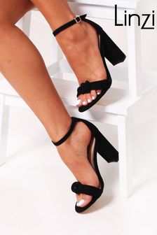 Linzi Black Harri Faux Suede Block Heeled Sandal With Front Knot Detail