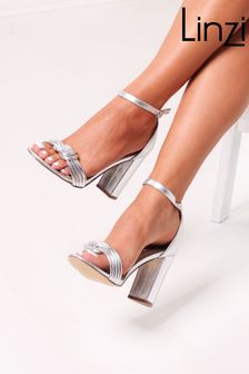 Linzi Silver Harri Faux Suede Block Heeled Sandal With Front Knot Detail