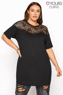 Yours Limited Black Lace Yoke T-Shirt