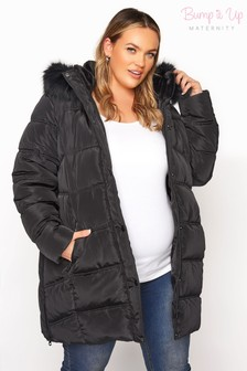 Bump It Up Black Maternity Side Zips Coat With Faux Trim Hood