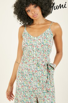 Yumi Green Ditsy Print 'Lilly-Mae' Jumpsuit With Pockets