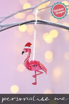 Personalised Flamingo Christmas Tree Decoration by Oakdene Designs
