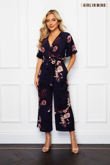 Girl In Mind Navy Trixie Angel Sleeve Culotte Jumpsuit