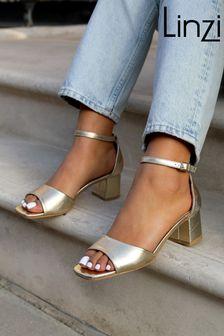 Linzi Gold Mollie Faux Leather Block Heel