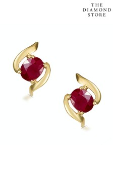 The Diamond Store Red Ruby 0.73CT 9K Yellow Gold Earrings