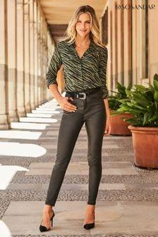 Sosandar Black Regular Coated Skinny Jeans
