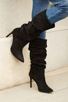 Sosandar Black Belle Suede Heeled Slouch High Leg Boots