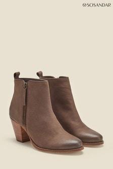 Sosandar Stone April Leather Zip Heeled Ankle Boots