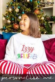 Personalised Kid's Believes Christmas Pyjamas by Percy and Nell