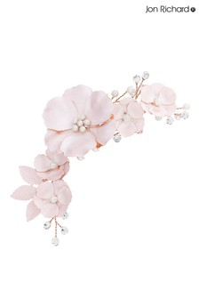Jon Richard Rose Gold Mabel Pink Flower And Pearl Clip