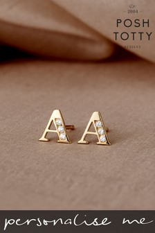 Personalised 9ct Gold Initial Earrings by Posh Totty Designs