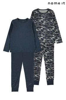 Name It Grey 2 Pack Camo Print Pyjama Set