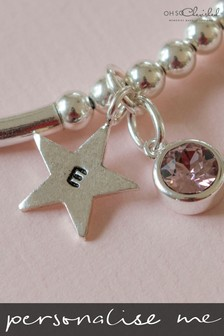 Personalised Sterling Silver Birthstone Star Bracelet by Oh So Cherished