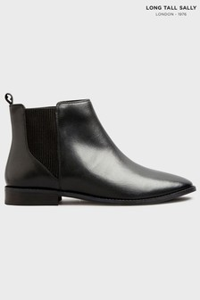 Long Tall Sally Black Leather Chelsea Boot