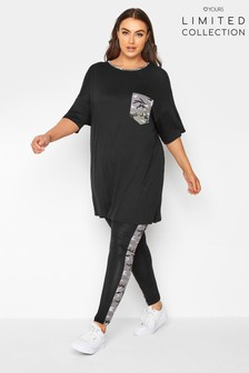 Yours Limited Black Legging With Camo Stripe