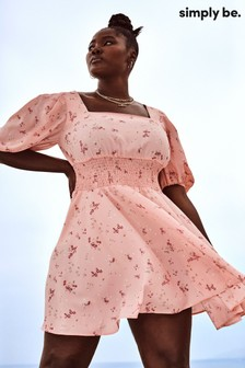 Simply Be Pink Square Neck Skater Dress