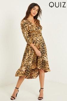 Quiz Brown Leopard Print Wrap Midi Dress
