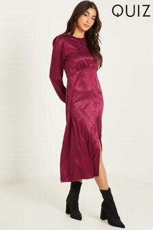 Quiz Red Animal Print Satin Midi Dress