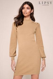 Lipsy Camel Button Knit Jumper Dress