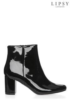 Lipsy Black Patent Flat Ankle Boot