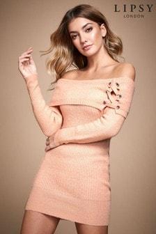 Lipsy Pink Bardot Eyelet Jumper Dress