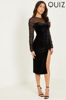 Quiz Black Velvet Ruched Midi Dress