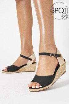 SPOT ON Black Peep Toe Wedge