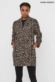 Vero Moda Multi Leopard Print Brushed Coatigan