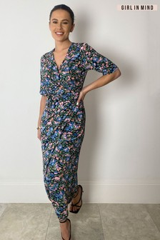 Girl In Mind Black Esme Wrap Detail Ruched Skirt Midi Dress