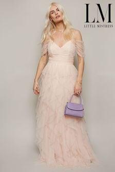Little Mistress Nude Bridesmaid Ruffle Maxi Dress