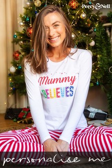 Personalised Ladies Believes Christmas Pyjamas by Percy and Nell