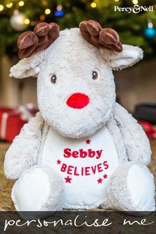 Personalised Christmas Reindeer Soft Toy by Percy and Nell