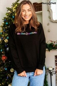 Percy & Nell BLACK Christmas Embroidered Slogan Sweatshirt
