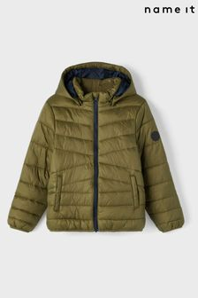 Name It Green Padded Coat With Hood