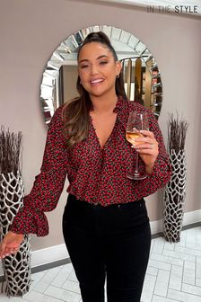 In The Style Red Jac Jossa Button Down Frill Cuff Blouse