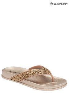 Dunlop Rose Gold Ladies Shimmer Detail Toe Post Sandals
