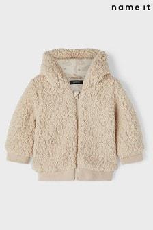 Name It Cream Zip Through Teddy Jacket