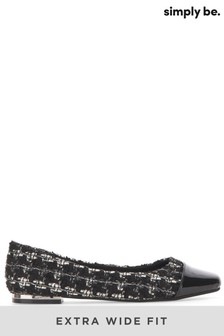 Simply Be Monochrome Mariah Extra Wide Square Toe Flats