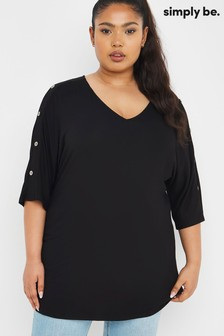 Simply Be Black Button Shoulder Trim 3/4 Sleeve Tunic