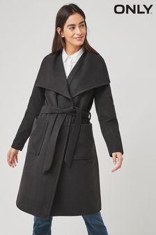 Only Black Belted Wrap Lightweight Coat