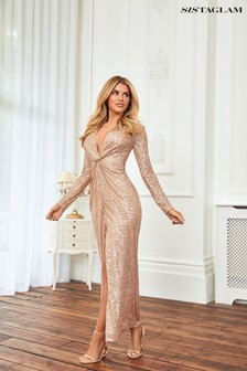 Sistaglam Gold Sequin Wrap Maxi Dress