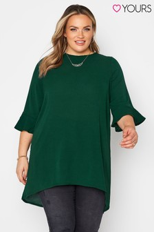 Yours Green Fluted Sleeve Tunic