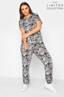 Yours Limited Green Camo All Over Print Jogger