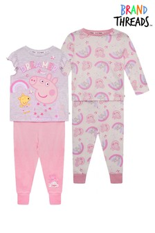 Brand Threads Pink Peppa Pig Girls 2-Pack Pyjamas